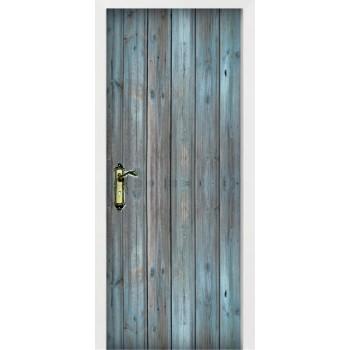 Blue tint wood plank door