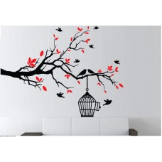 Branch with birds & cage