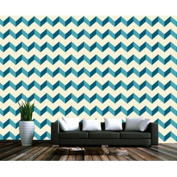 Moder geometric zig zag wallpaper blue