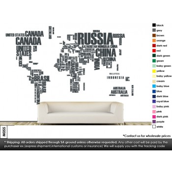 World map Vinyl Wall Art Wallpaper